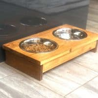 Handmade Double Wooden Dog Bowl Stand